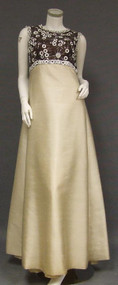 SUPERB Sarmi Custom Chocolate & Cream Silk 1960's Evening Gown