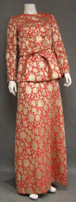 Stunning Salmon & Gold Sarmi Evening Gown w/ Plunging Neckline & Matching Jacket
