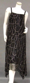 INCREDIBLE Pauline Trigere Black Chiffon Evening Dress w/ Silver Paillettes & Original Ad