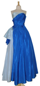 Amazing Will Steinman Two Toned Blue Taffeta Strapless 1950's Ball Gown