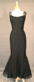 BOMBSHELL Black Lace 1950's Evening Gown w/ Mermaid Hem
