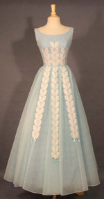 FANTASTIC Blue Chiffon 1960's Ball Gown w/ Ivory Appliques