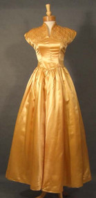 Gorgeous Butterscotch Satin 1940's Evening Dress