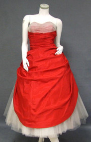 The ULTIMATE Red Taffeta & White Tulle 1950's Prom Dress