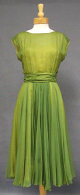 SUPERB Helen Rose Avocado & Lemon Chiffon 1960's Cocktail Dress 39