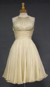Twirling Ivory Chiffon Cocktail Dress w/ Beaded Halter Bodice