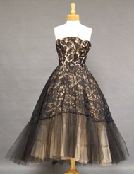 Extraordinary Black Lace & Pink Tulle 1950's Cocktail Dress w/ Graduated Hemline