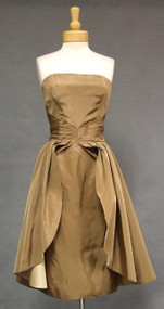 FABULOUS Emma Domb Mocha Taffeta Cocktail Dress w/ Overskirt 39