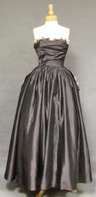 OUTSTANDING Charcoal Taffeta 1950's Ball Gown w/ Pink Floral Trim