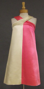 BOLD Hot Pink & Ivory 1960's Color Block Mini Dress