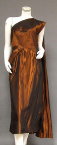 One Shouldered Copper Taffeta Cocktail Dress w/ Drape