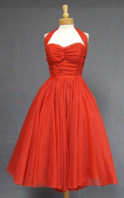 Gorgeous Emma Domb Pleated Red Chiffon 1950's Halter Dress