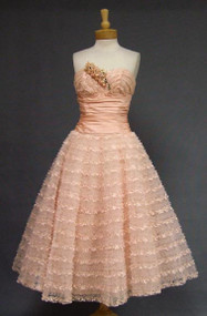 Emma Domb Pink Lace, Taffeta & Tulle Strapless 1950's Prom Dress