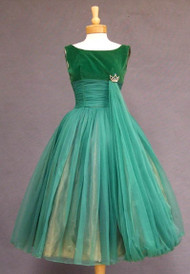 Green Chiffon & Velveteen Prom Dress w/ Balloon Hemmed Sash