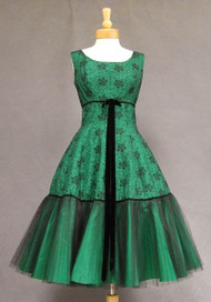 Terrific Embroidered Black Tulle & Emerald Taffeta 1950's Cocktail Dress