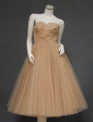 SUPERB Cameo Rose Tulle 1950's Strapless Cocktail Dress & Jacket w/ Sequins & Lace