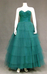 Fred Perlberg Emerald Taffeta & Tulle 1950's Ball Gown