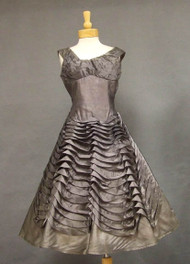 UNIQUE Gunmetal Organdy 1950's Cocktail Dress w/ Waving Ruffles