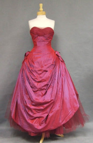 Jaw Dropping Cerise Taffeta & Tulle Strapless 1950's Ball Gown