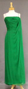 KNOCKOUT Draped Kelly Green Silk Chiffon Evening Gown