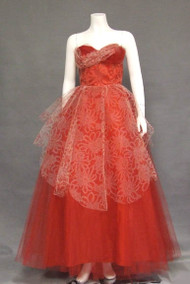 AMAZING Printed Tulle 1950's Ball Gown