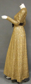 Shimmering Golden Sarmi Evening Gown w/ Embroidery & Paillettes