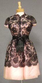 STRIKING Black Lace & Pink Organdy 1960's Sarmi Cocktail Dress