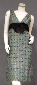 FANTASTIC 1960's Sarmi Cocktail Dress w/ Black & Silver Mylar & Gold Metal Embrodiery