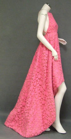OUTRAGEOUS & DARING Ferdinando Sarmi Embroidered Tulle Apron Front Gown w/ Graduated Hem