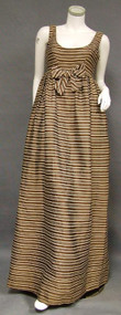Elegant Chocolate Silk Sarmi Evening Gown w/ Stripes