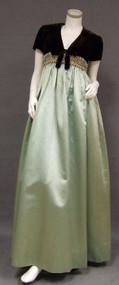 EXQUISITE 1960's Sarmi Evening Gown in Chocolate Velvet & Aqua Satin