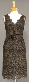 Wonderful Brown Cellophane Embroidered Lace 1960's Sarmi Cocktail Dress