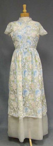 FABULOUS Pastel Lace & Grey Organdy 1960's Sarmi Evening Dress