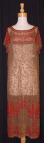 EXTRAORDINARY Beaded Mocha Silk 1920's Cocktail Dress / Flapper Dress 41