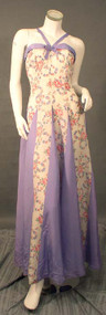 MARVELOUS Floral Taffeta 1940's Evening Gown & Jacket