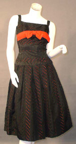 FABULOUS Black Eyelet Taffeta 1950's Cocktail Dress w/ Red Lining