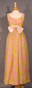 Graceful Helena Barbieri Floral Chiffon 1960's Evening Gown