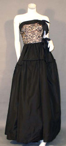 Head Turning Black & Pink Lace & Taffeta 1940's Ball Gown
