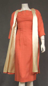 Claudia Young Salmon Wiggle Dress w/ Beads & Matching Swing Coat