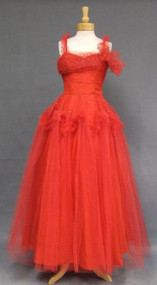 Striking Red Tulle Ball Gown w/ Gold Dots