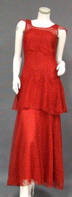 SENSATIONAL Red Lace 1930's Evening Gown