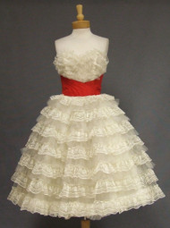 Ruffled Ivory Lace & Red Taffeta 1950's Strapless Prom Dress