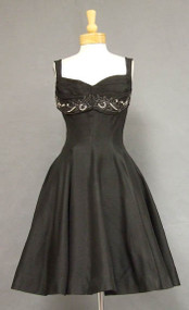 FABULOUS Black Organdy 1950's Cocktail Dress w/ Beaded Neckline