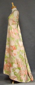 Elegant Floral Silk Satin 1960's Evening Gown w/ Train