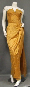 EXQUISITE Butterscotch Silk Satin Strapless 1950's Evening Gown w/ Organdy