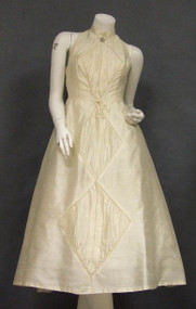 EXQUISITE Cream Silk 1950's Halter Dress w/ Pleated Insets