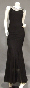 OUTSTANDING Black Tulle 1930's Evening Gown w/ Low RS Button Back