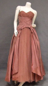 Fred Perlberg Dusty Rose Taffeta & Tulle 1950's Ball Gown