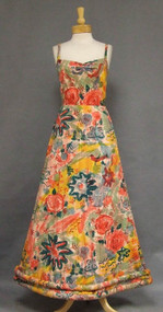 OUSTANDING 1930's Printed Cotton Evening Dress w/ Corded Hem