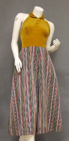 UNIQUE Velveteen & Striped Taffeta 1950's Halter Dress w/ Bolero